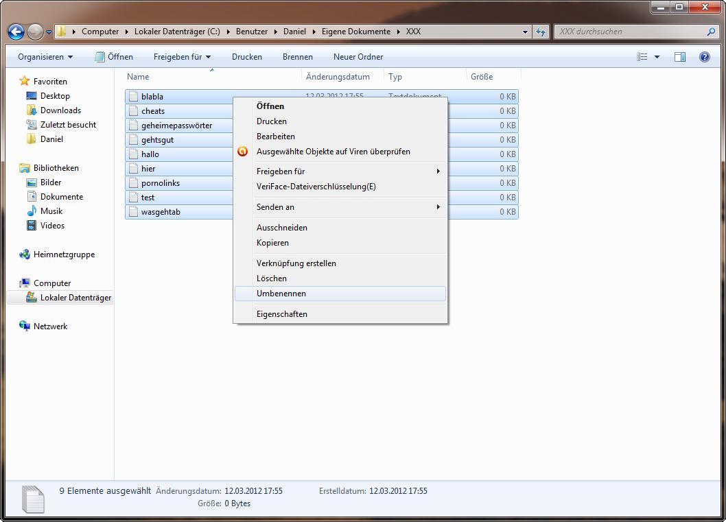 Mehrere Dateien sind ausgewählt und das Kontextmenü wurde geöffnet.
