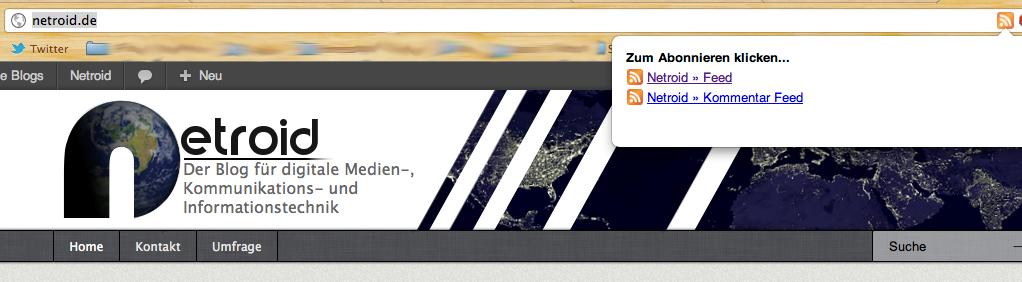Der durch das PlugIn erzeugte RSS-Button von Chrome