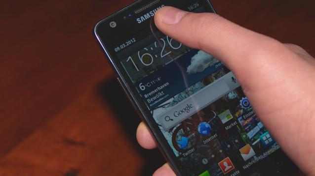 Galaxy S2 - oberer Bildschirmrand