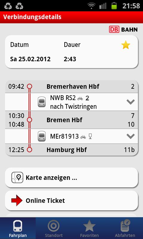 Eine kurze Zugverbindung. Auf Wunsch kann man weitere Details einblenden.