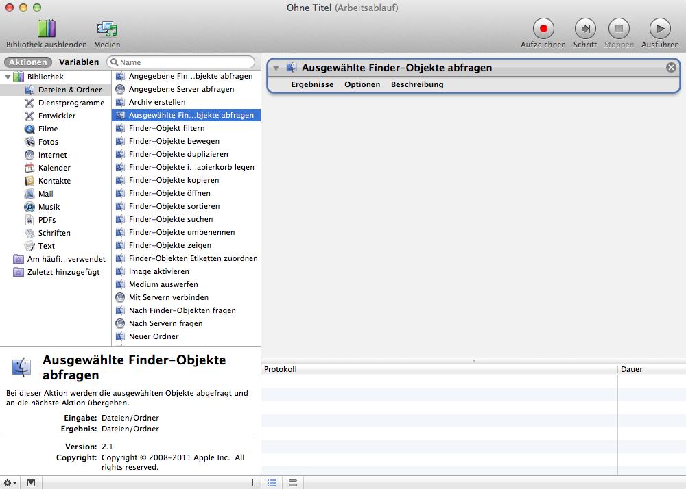 """Öffne den Automator und erstelle einen neuen Arbeitsablauf. Dann wähle mit einem Doppelklick links im Fenster unter """"Dateien und Ordner"""" die Aktion """"Ausgewählte Finder-Objekte abfragen"""" aus."""
