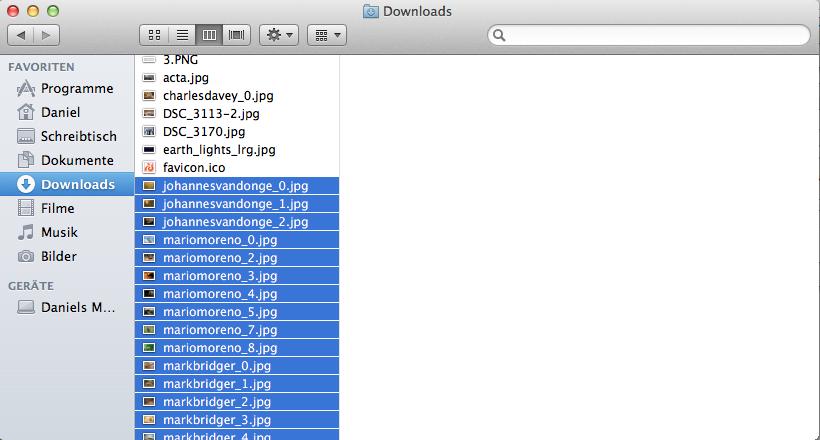 Nun navigiert man zum Finder, und wählt die Dateien aus, die man umbenennen möchte.