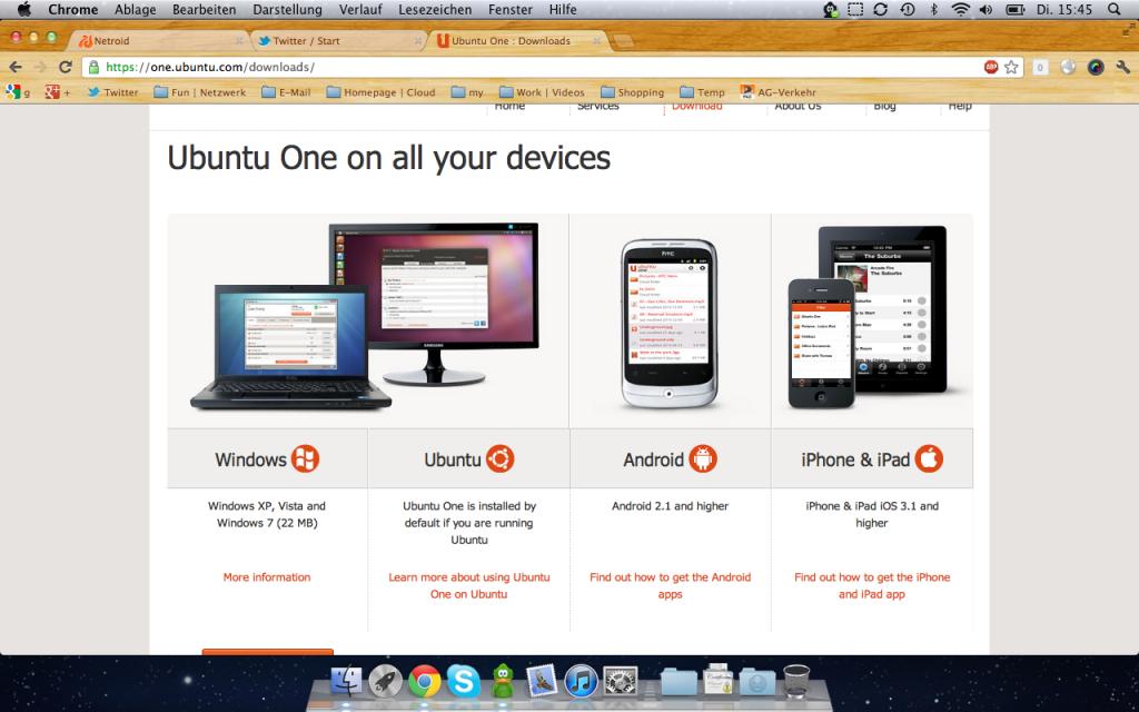 Die App-Download-Seite.