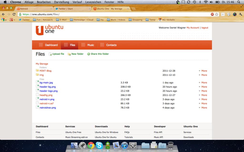 Das Webinterface mit der Übersicht meiner hochgeladenen Dateien.