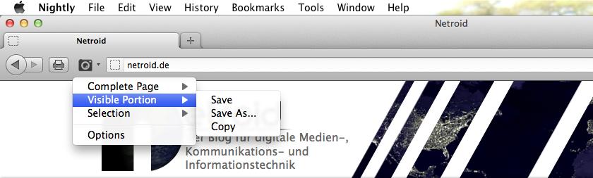 Durch Klicken auf den Button wird die gesamte Seite direkt gespeichert. Durch Klicken auf den Drop-Down-Pfeil öffnet sich ein kleines Menü, in dem man mehrere Möglichkeiten zur Bildschirmerfassung hat. Man kann einen Bereich, die gesamte Seite oder das Sichtbare abgreifen und speichern, speichern mit einem benutzerdefinierten Dateinamen oder in die Zwischenablage kopieren.