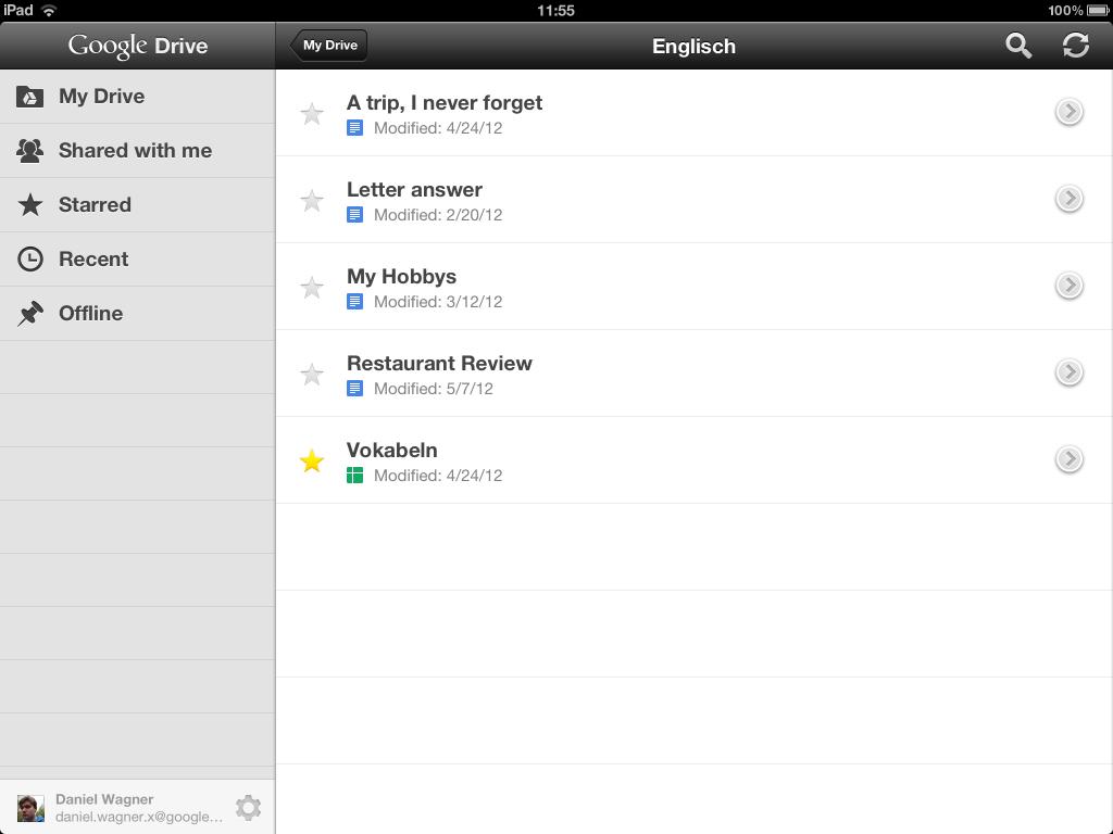 Die Oberfläche und Dateiansicht von Google Drive.