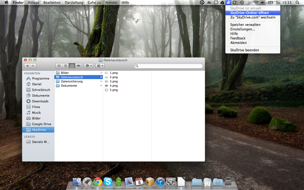 Skydrive-Ordner und Menü der Skydrive-App für OSX