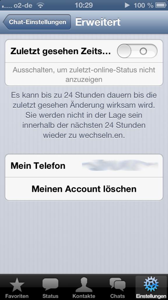 Zuletzt gesehen Zeitstempel bei WhatsApp abschalten