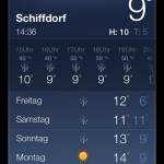 Die vorinstallierte Wetter-App