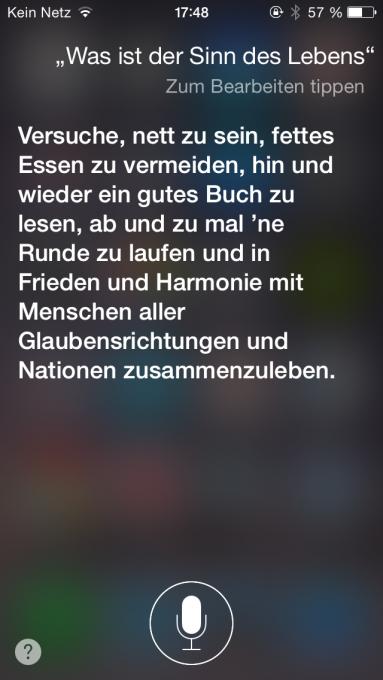 """""""42!"""" würde sicherlich einigen einfallen. Doch Siri hat noch andere Weisheiten auf Lager."""
